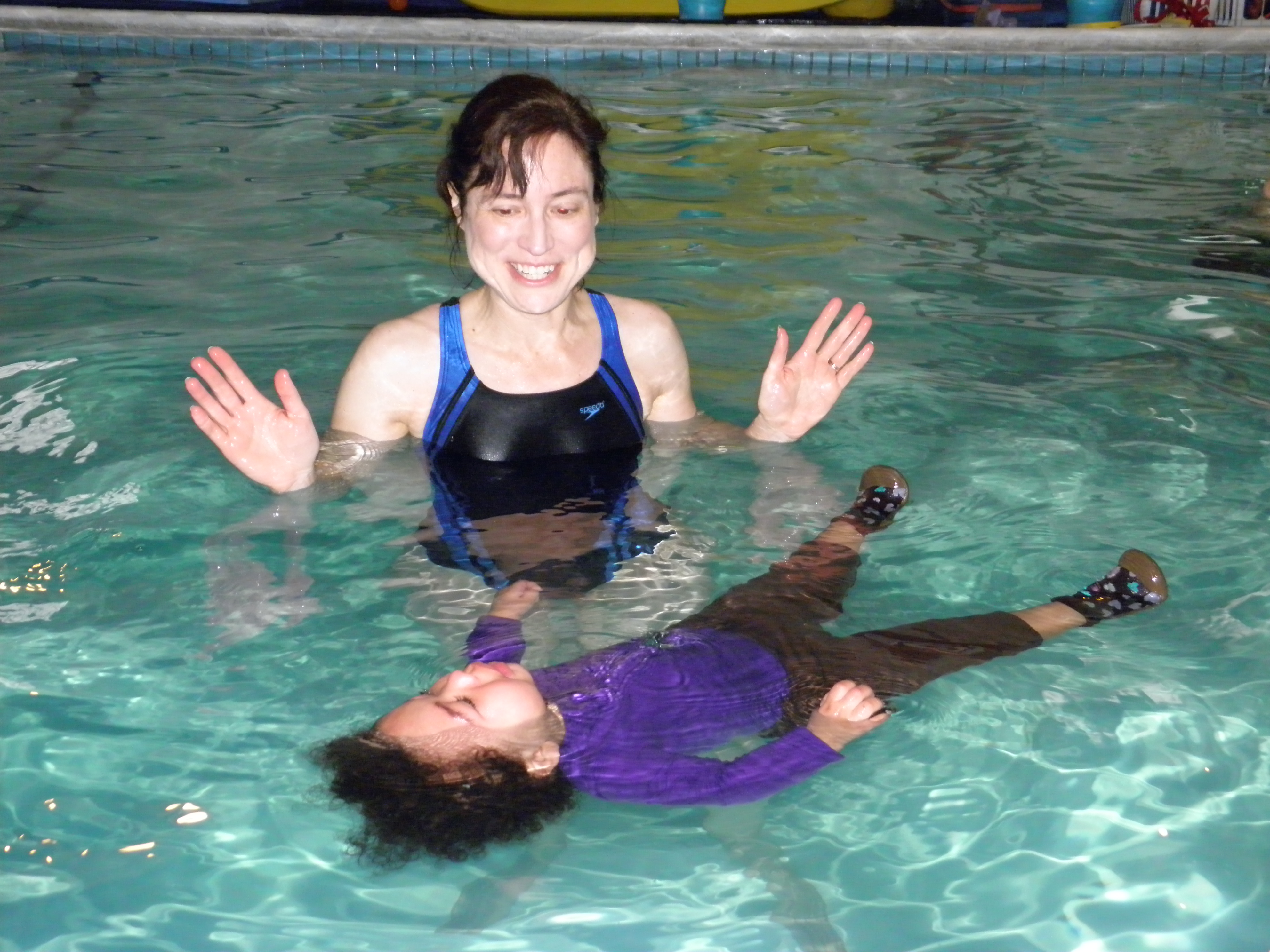 Baby Having Swimming Lesson With Mother Happy Infant Boy Enjoying His First Swim In