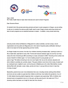 Governor's Letter: Open Swimming Schools as Essential!